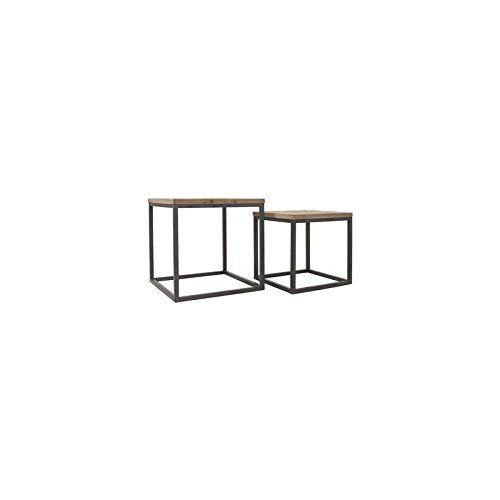 Indhouse-Tavolino stile industriale per decorazione vintage in ferro e legno massiccio Hannah-Set di 2: Amazon.it: Casa e cucina