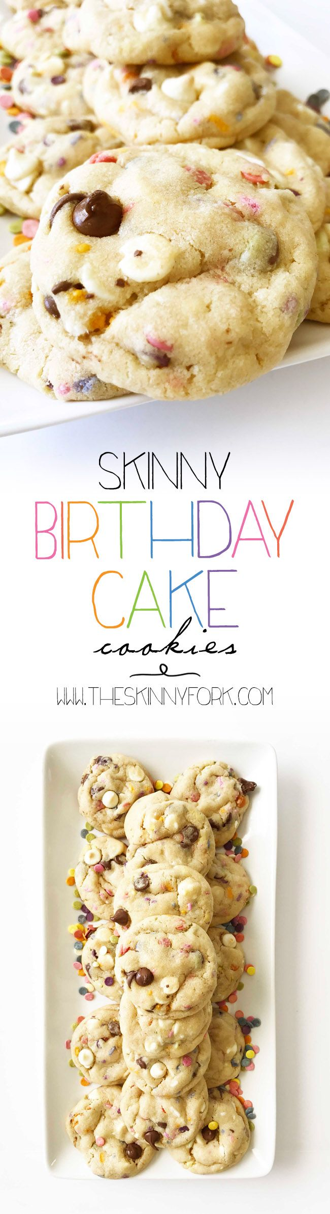 These Skinny Birthday Cake 'Cake Batter' Cookies are sure to steal the show at any party! Plus, they are better-for-you and made with NATURALLY colored sprinkles. TheSkinnyFork.com | Skinny & Healthy Recipes