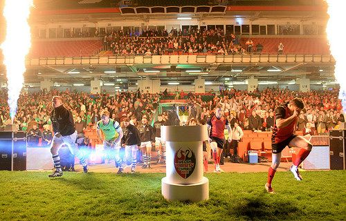 The teams enter the Millennium Stadium pitch, Varsity 2014