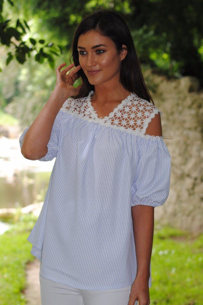 Tia Light Blue and Lace Top