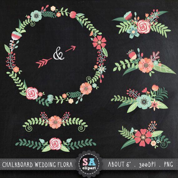 Chalkboard Wedding Clipart CHALKBOARD WEDDING FLORALclip