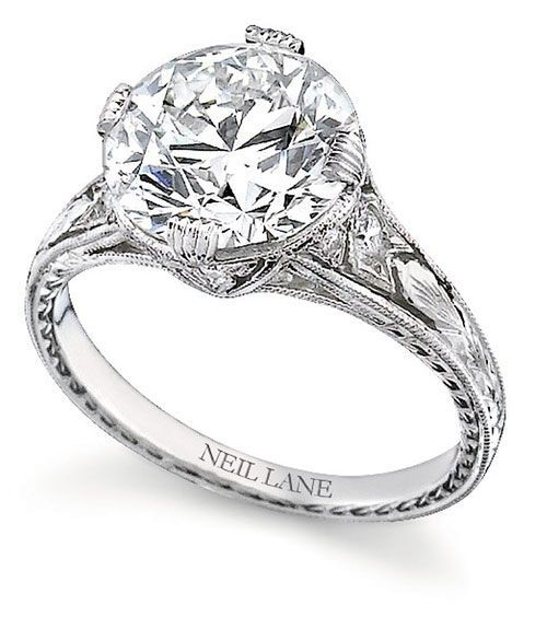 1920 Vintage Wedding Rings | Round Diamond Set In Hand Engraved Platinum,  By Neil