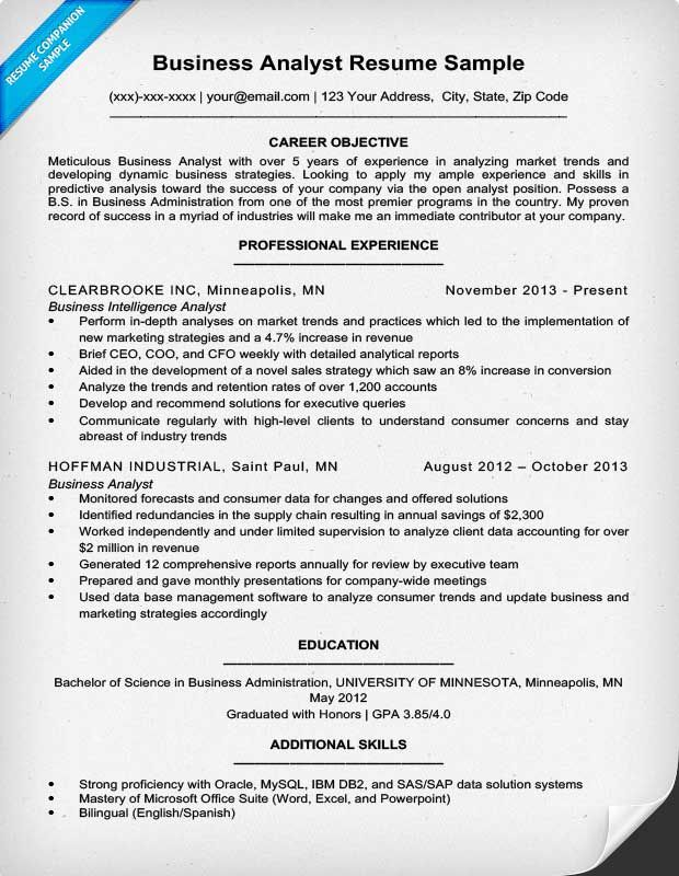 Objective For Business Analyst Resume Resume Objective Business