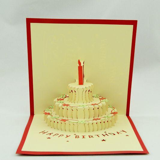 Flower birthday cake /3D  kirigami birthday card/ handmade pop up card greeting cards  Free shipping