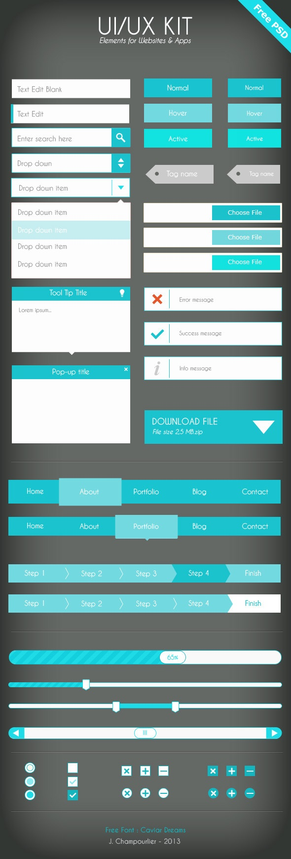UI Flat design - blue