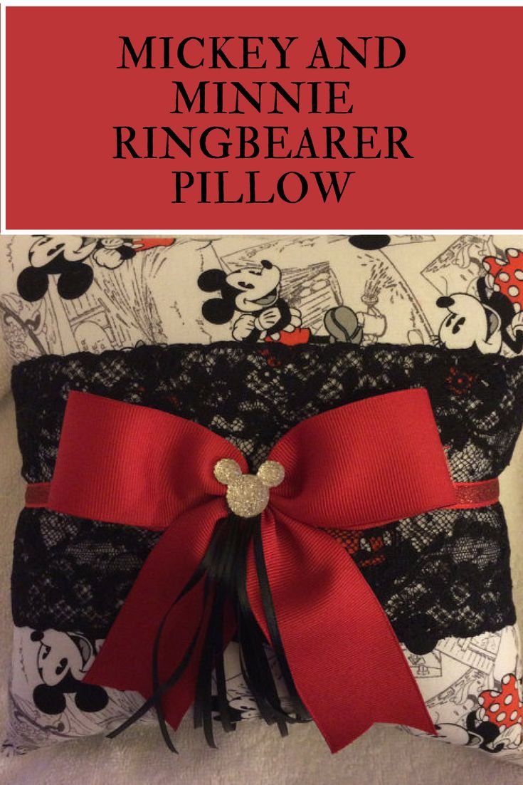 Mickey and Minnie Sketch Print ring bearer pillow would make a perfect addition to a Disney or Mickey themed wedding. #commissionlink #disney #mickeyandminnie #mickeymouse #minniemouse #ringbearer