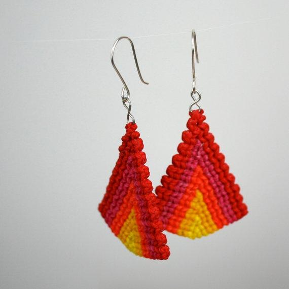 raspberry lemonade triangle macrame earrings