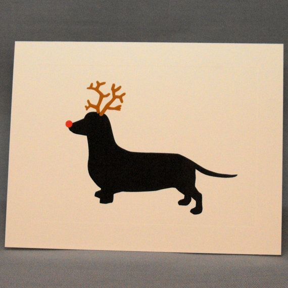 Holiday Dachshund Christmas Card Single Greeting by doggydesign, $2.99