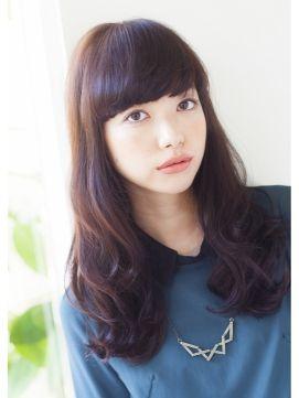 黒髪/ロング/パーマ