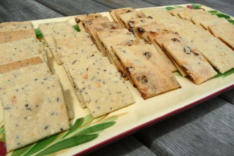 A healthy cracker recipe made with blanched almond flower.