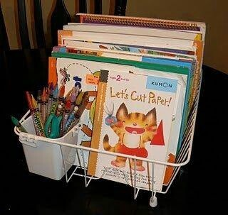 Using a dish drainer for to keep kids art supplies organised.