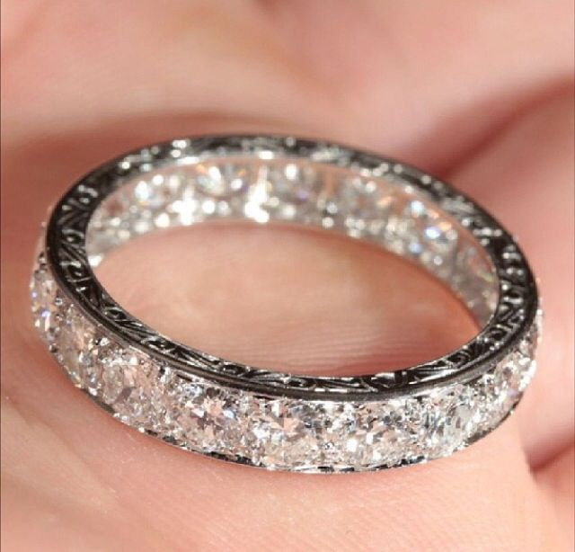Unique Pave 0 30ct Diamonds 14k White Gold Fl Milgrain Wedding Band Engagement In 2018 Romance Pinterest Jewelry Rings And Eternity Ring