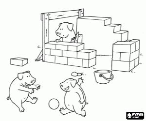 One is working, pigs playing coloring page