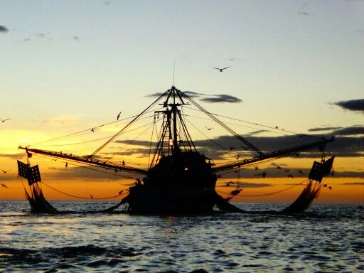 Shrimp boats at sunset, El Salvador
