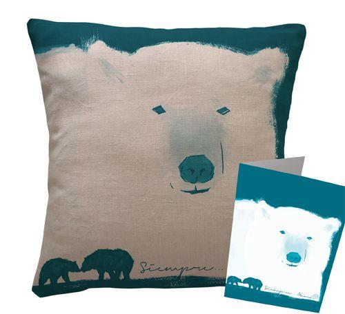 """Precioso cojín, de ilustración exclusiva """"familia polar"""", sobre lino 100%, producto artesano. Un regalo perfecto para el día de la Madre."""