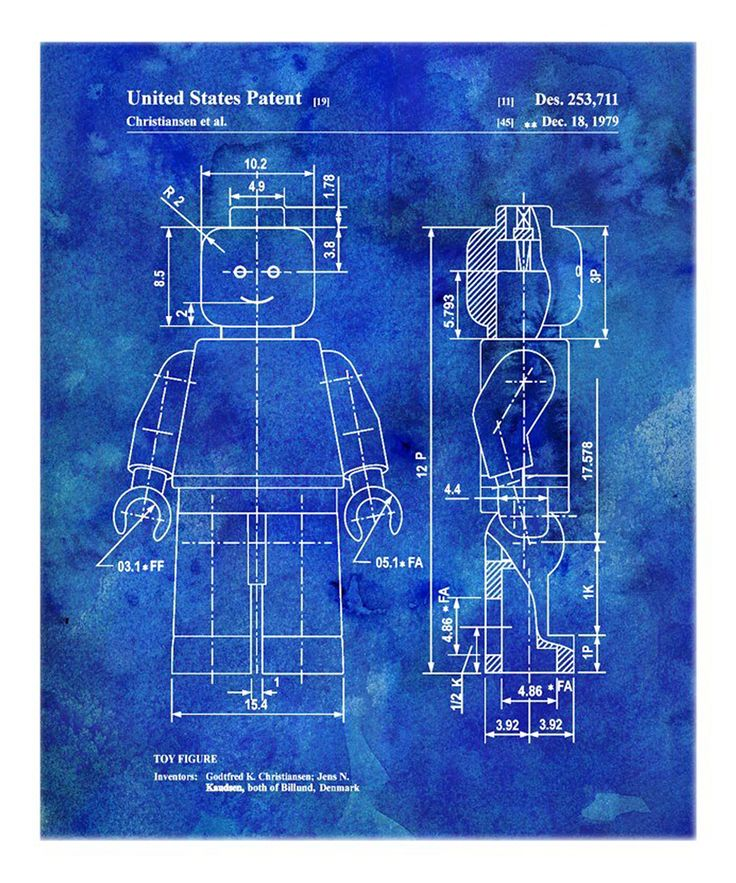 Blue Lego Toy Figure 1979 Art Print   Daily deals for moms, babies and kids