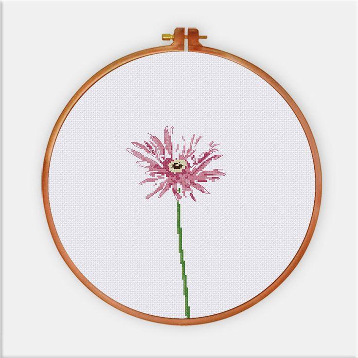 Gerbera Daisy cross stitch pattern Modern flower от ThuHaDesign