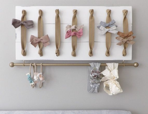 Hair Bow Holder Hair Bow Organizer Headband by ThePaintedPlank