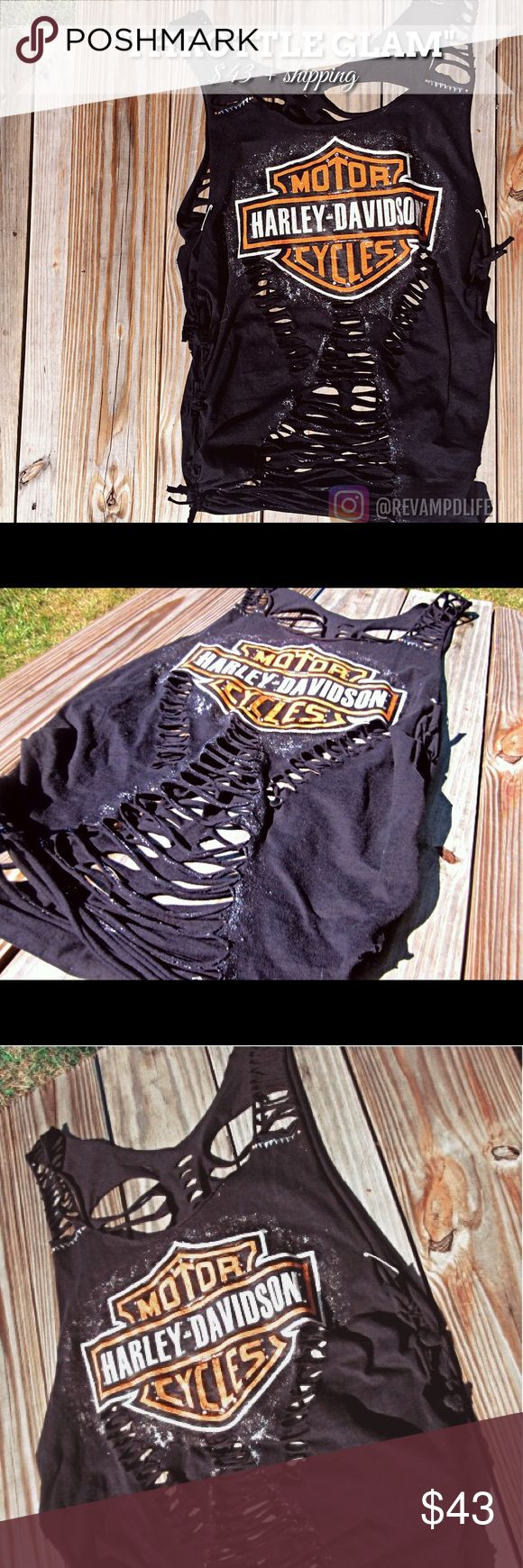 """Upcycled revamped Harley Davidson shirt • """"THROTTLE GLAM"""" has been distressed, weaved and embellished with rhinestones and flashy glitter (hard to tell in photos :(). Somewhat baggy and see through •  • size: medium •  --Ask for bundles to save $$ • always accepting offers!--   #harleydavidson  #motorcycle #biker #bling #motorcyclerally #sturgis #rhinestone #embellished  #cutup #distressed #revamped #restyled #laconia #bikeweek #ladiesofharley #ftw #throttleworld #ollady #customclothes…"""