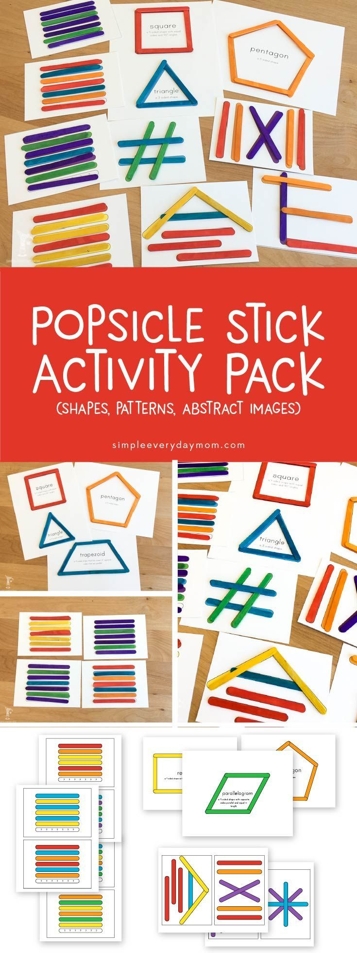 These popsicle stick activities are so fun for kids of all different ages. Toddlers will love matching, while older Elementary aged kids will be challenged while they try to figure out the pattern and build abstract shapes in the correct order. It's a fun