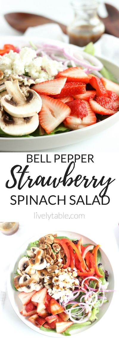 A fresh and delicious strawberry spinach salad made with nutrient-packed seasonal ingredients is perfect for summer! (vegetarian, gluten-free)  via livelytable.com