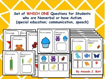 Which One Question Cards with 2 choices (picture cards) given for responding/ answering.   Autism; Special Education; Nonverbal; Communication; One on One work - Answering Which one questions.