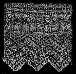 Leaf lace edging: FIG. 399. KNITTED EDGING. | Knit stitch ...