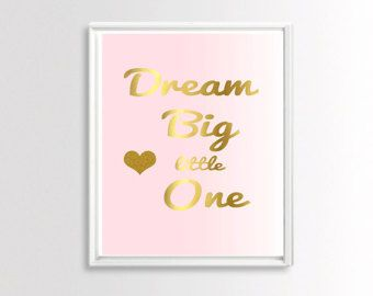 Rosa und Gold Kinderzimmer Dekor Dream Big Little von wallandwonder