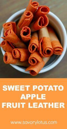 Spiced Sweet Potato Apple Fruit Leather | savorylotus.com