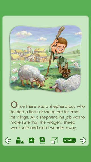 Abcmouse har flere forskellige gratis bøger. Der er gloser og man kan under indstillinger vælg og bogen skal læses højt eller man selv vil læse den. Her er det bogen the boy who cried wolf. Det er ca. 4. - 5. klasse.