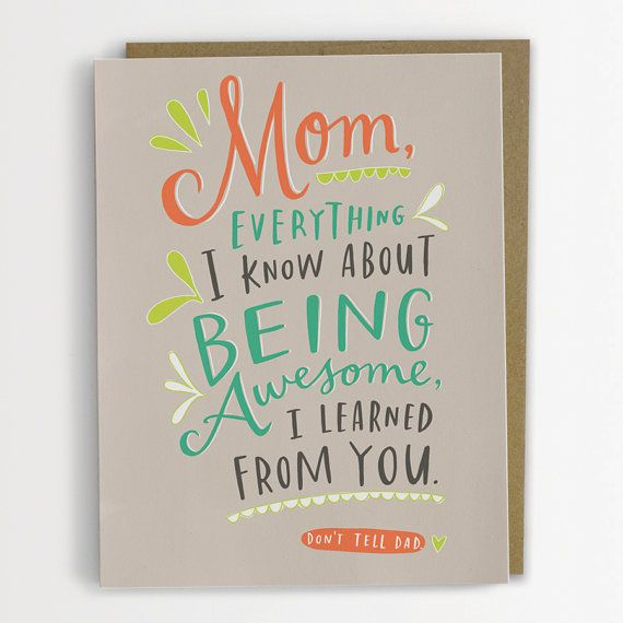 Don't Tell Dad Mother's Day Card Being by emilymcdowelldraws, $4.50