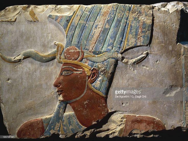 Nesi (Pharaoh) Thutmoses III wearing the Atef crown. Limestone, painted relief from the Memorial Temple of Nesi (Pharaoh) Hatshepsut. 18th Dynasty, New Kingdom, Djeser Djeseru (Deir al-Bahri).