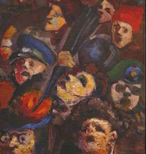"""Panic. 1926. In the late 1920s and early 1930s he attended classes at the House of Artistic Education. In 1934 the Moscow Art Institute. The exhibitions of German expressionists had an impact on formation of the artist's creative mind. He prefers restrained colours, approximately monochromatic ones, but this method doesn't reduce an expressive character of his works. His painting """"Panic"""" was one of his earliest works (1926) . Viting adhered expressionism to some extent during all his life."""