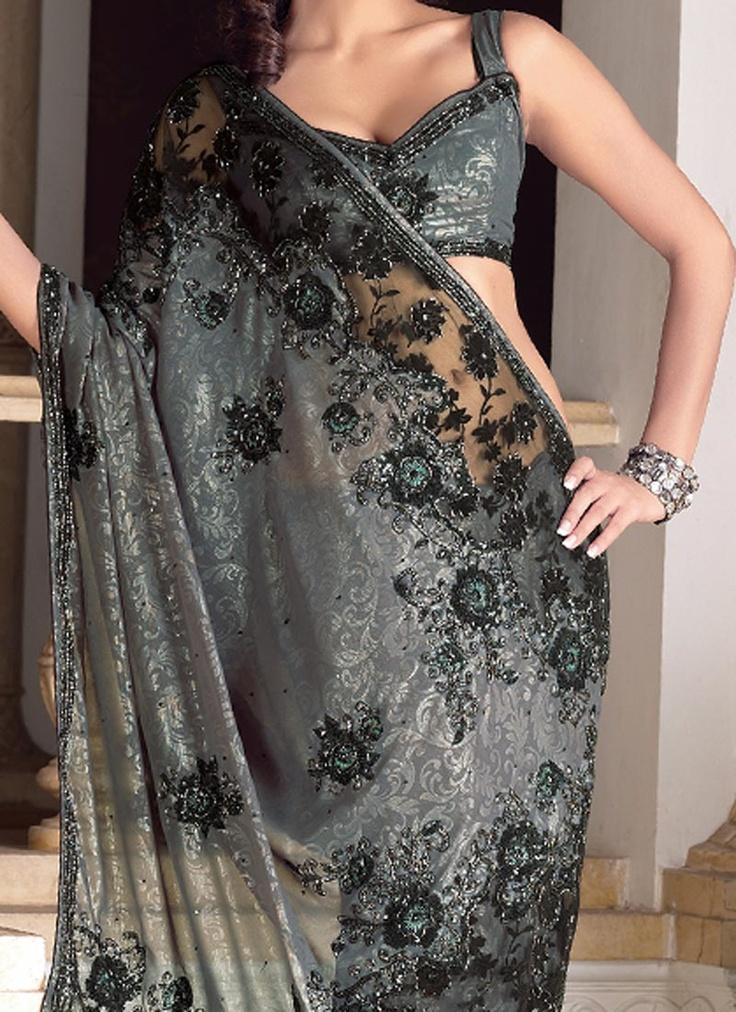 grey and black saree