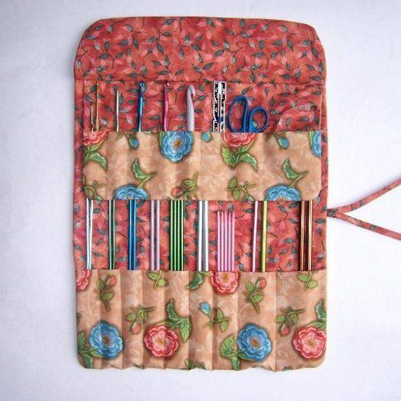 Knitting Needle Cases Storage : Tan blue knitting needle storage case crochet hook holder