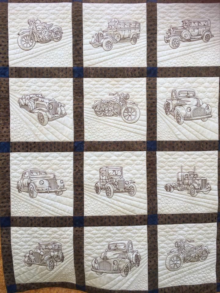 Custom quilting, hand and computer guided #vintagevehicles #handmade