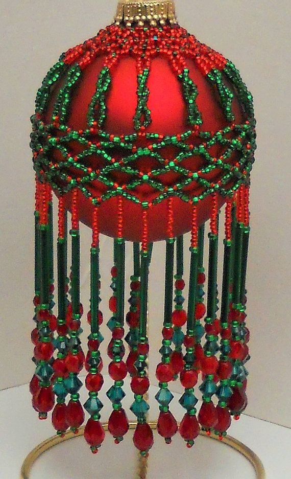 Pattern beaded ornamnet cover Do The Twist от CrystalGaye на Etsy