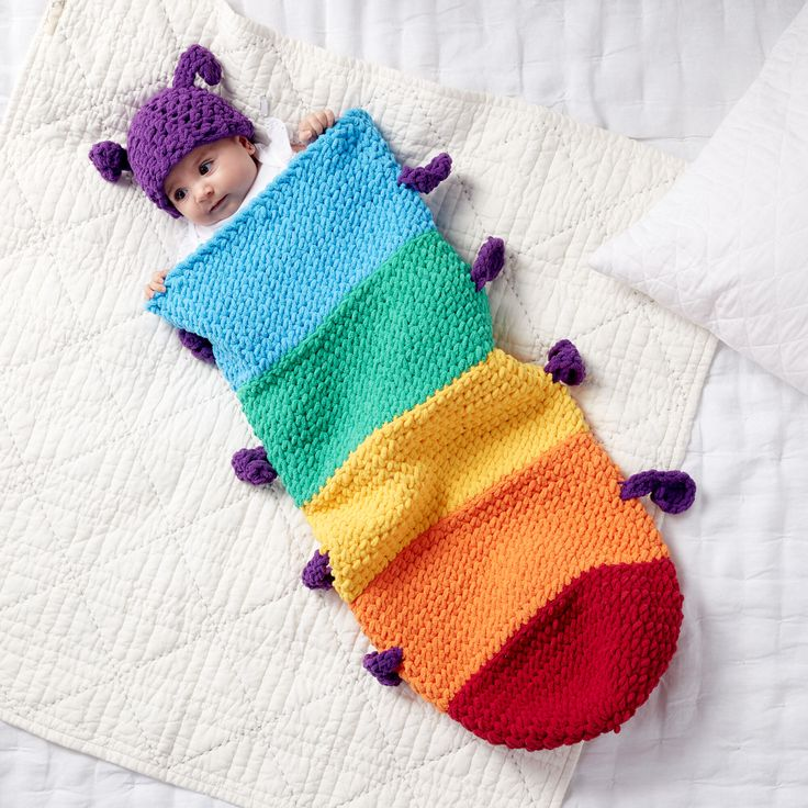 Free Crochet Pattern for Baby Caterpillar Snuggle Sack