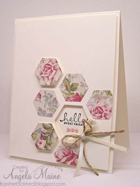 handmade greeting card ... F4A209 Hello Friend by Arizona Maine ...delightful grouping of hexagons punched from Anna Griffith paper with romantic rose print ... two popped up .. one negative sapce with greeting showing from inside ... luv it!