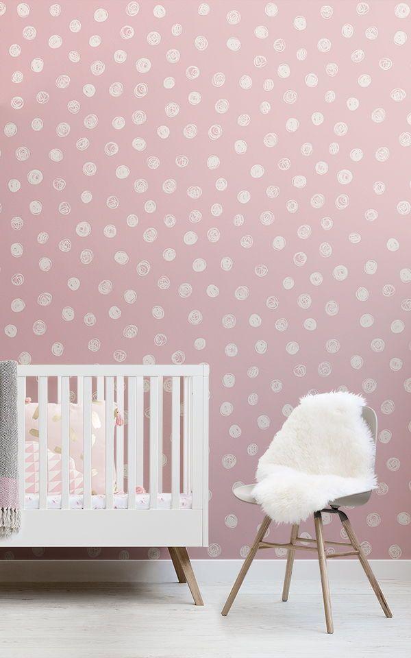 Carta da parati rosa e bianca,modello,rosa,bianca,rosso,. Pink Illustrated Polka Dot Wallpaper Mural Hovia Polka Dots Wallpaper Nursery Accent Wall Pink Accent Walls