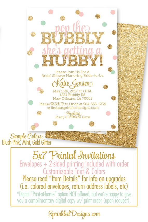 Bridal Shower Invitation - Pop the Bubbly She's Getting A Hubby, Brunch & Bubbly, Lingerie Shower, Bachelorette Invitations for Bride to be - SprinkledDesigns.com