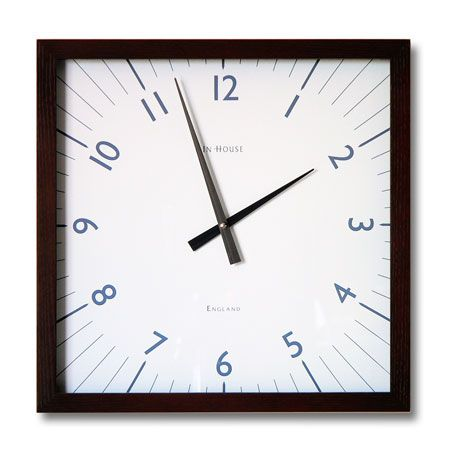 "http://www.jazzitupinteriors.co.uk/acatalog/copy_of_OTHER_DESIGNER_CLOCKS.html  'THE SQUARE' WALL CLOCK IN WALNUT WITH WHITE Ref: IHW9WN  Fabulous style wall clock in a quality handmade design. The frame made from solid ash that has a Walnut lacquer and the face is stunning crisp white finish. Stainless steel hands. To the front is a glass face sitting away from the main face. A nice classy clock for any living or working environment. Size is 38cm (15"")"