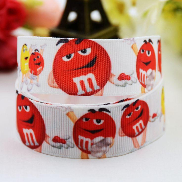 5 Ярдов DIY Ленты M & M's Красный Конфеты Напечатаны 7/8 ''22 мм Широкий Белый Grosgrain Ленты Мальчиков девушка Одежды Костюм