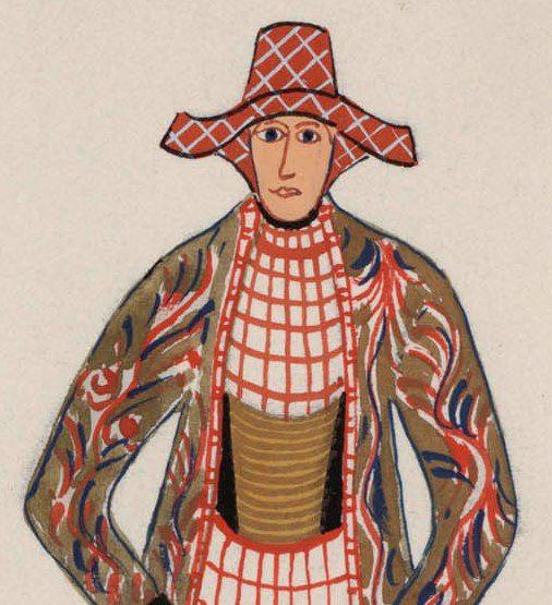 "Detail of ""2 vrouwen en een kind in Hindelooper kleederdracht 1700-1800."" (Two women and a child in Hindeloopen regional costume, 1700-1800.) Artists: N. Huppes and Hendrik J. Lap, 1849. Women's costume of the town of Hindeloopen, province of Friesland, The Netherlands."