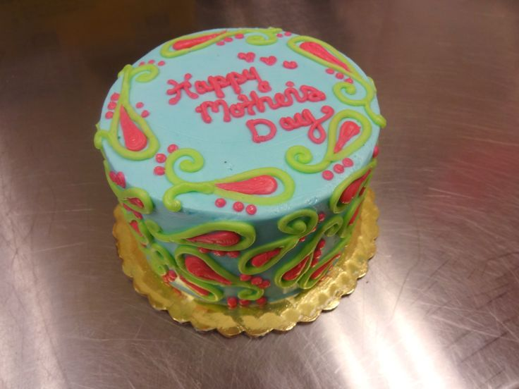 Mother's Day Cake - Paisley - Spring colors - Blue, green, pink - Erin Miller Cakes - https://www.facebook.com/erinmillercakes