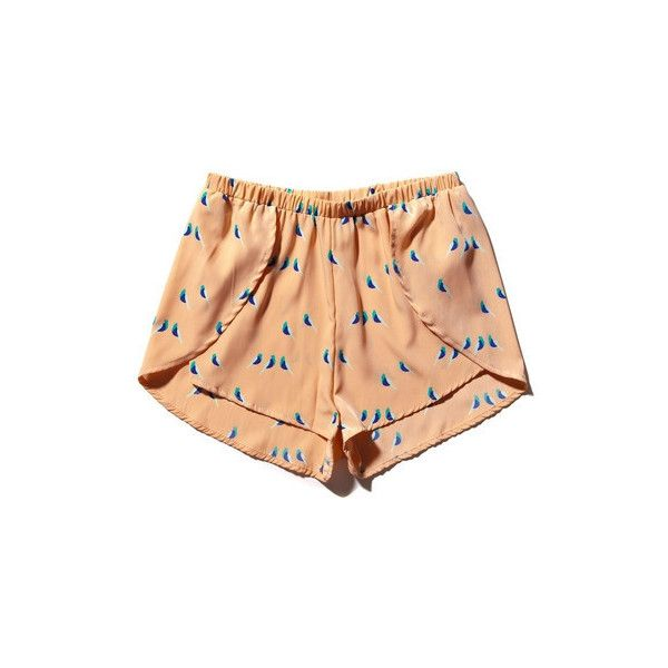 Scallop Silky Bird Shorts (60 CAD) ❤ liked on Polyvore featuring shorts, bottoms, pants, short, short shorts, dressy shorts, scallop hem shorts, scalloped edge shorts and scalloped shorts