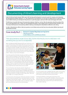 Case study No.1: Bulleen, north-east Melbourne, Victoria When the National Quality Framework (NQF) was introduced in 2012, many of the educators at the Creative Play Early Learning Centre in Bulleen, north-east Melbourne, were very apprehensive. According to Georgina Dimitrakis, manager of the centre, 'a lot of my educators were feeling the stress of it all, it was the fact that it was a change'. http://bit.ly/1bArbJq