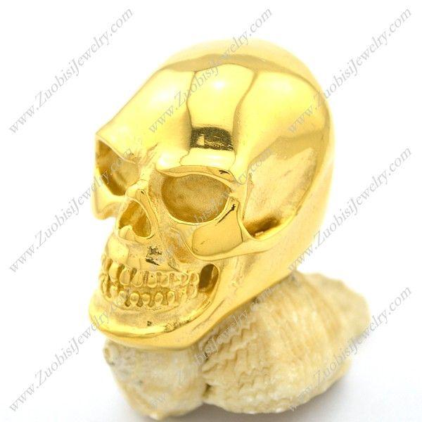 Large Shiny Polished Gold Plating Skull Ring r002611 @ US$ 4.24