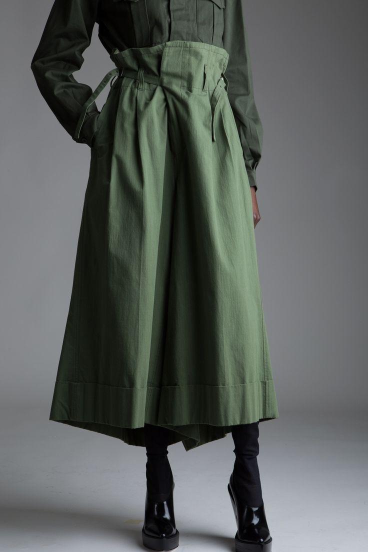 Vintage Junya Watanabe Comme des Garçons Trousers, Military Shirt and Parka Designer Vintage Clothing Dark Minimal Fashion