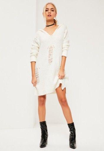 MISSGUIDED Biała sukienka sweter poszarpana (36)
